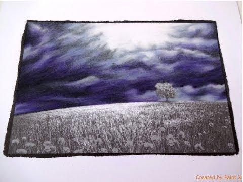 BEAUTIFUL NATURE grayscale | Ominous Sky Part 1 | color TUTORIAL | Prismacolor
