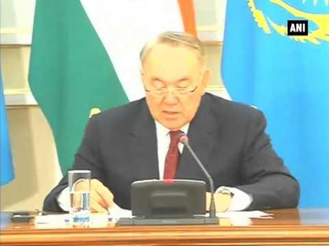 PM Narendra Modi and Kazakhstan President Nursultan Nazarbayev give joint statement in Astana (P-1)