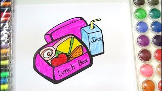 HOW TO DRAW AND COLOR LUNCH BOX FOR KIDS-COLORING PAGE OF LUNCH BOX FOR KIDS
