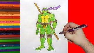 How to draw ninja turtles, Donatello, TMNT, Как нарисовать черепашек ниндзя