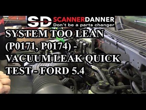 System Too Lean (P0171, P0174) - Vacuum Leak Quick Test - Ford 54