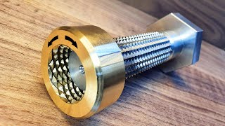 The nut is threaded in two directions at once.