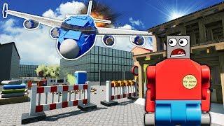 LEGO PLANE CRASHES INTO CONSTRUCTION SITE! - Brick Rigs Gameplay - Lego City Toy Crash