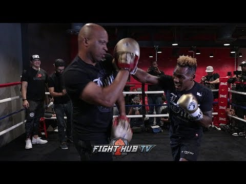 HUGE POWER! JERMELL CHARLO FIRES OFF COMBINATIONS ON THE MITTS FOR AUSTIN TROUT FIGHT