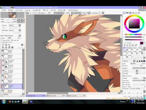 Cel-shading Arcanine in PaintTool SAI - YouTube
