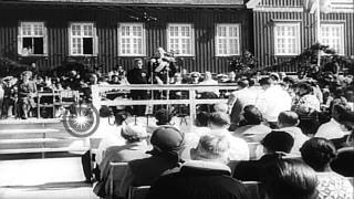 King Frederick IX  and Queen Ingrid, of Denmark visit Capital of Greenland HD Stock Footage
