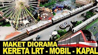 Maket Diorama  -  Miniatur Bergerak Kereta Api -   LRT -  Mobil - Kapal