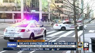 Delays on D.C. Metro Red Line after train derailment