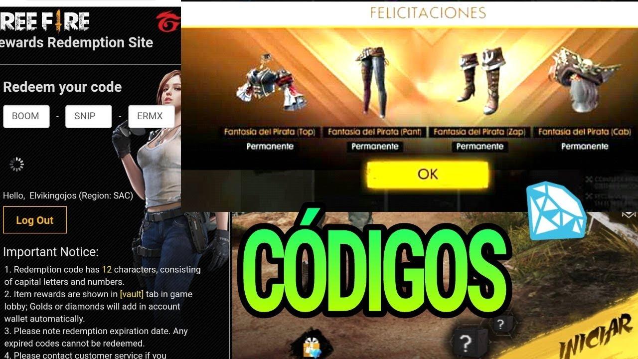 Codigos para free fire