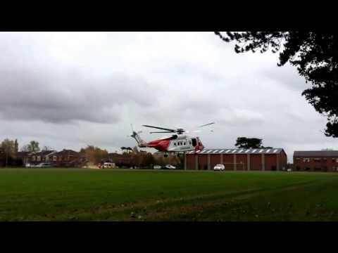 Irish Coast Guard Helicopter (Rescue 115) Landing at Beaumont Hospital