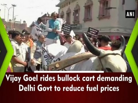 Vijay Goel rides bullock cart demanding Delhi Govt to reduce fuel prices  - #ANI News