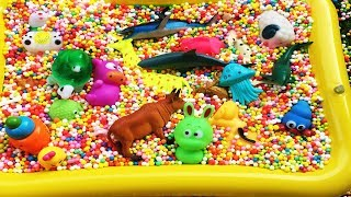 Sea Animals For Kids Learn Colors Shark Toys Foam Beads Tub Videos For Kids Fun Playtime