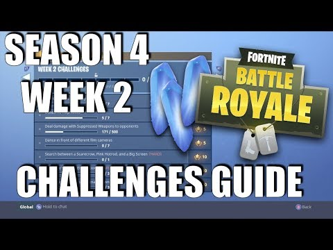 Fortnite - Season 4 Week 2 Challenges Guide | Camera Locations | Search Between A Scarecrow...