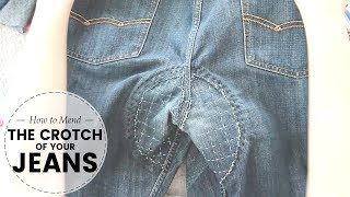 How to MEND / REPLACE the CROTCH of worn out JEANS   clothing repair tutorial   Last Minute Laura