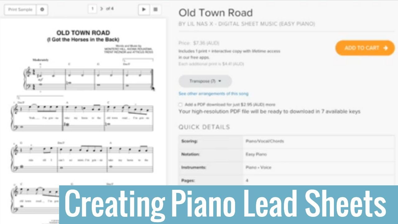 How to create a piano lead sheet from any song