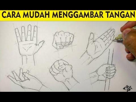 MUDAH!!! CARA MENGGAMBAR TANGAN UNTUK PEMULA - YouTube