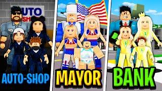 AUTO-SHOP FAMILY vs MAYOR FAMILY vs BANK FAMILY in Roblox BROOKHAVEN RP!!
