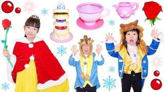 ★美女と野獣ごっこ!「お城の外でティーパーティー!」★beauty and the beast style Tea party★