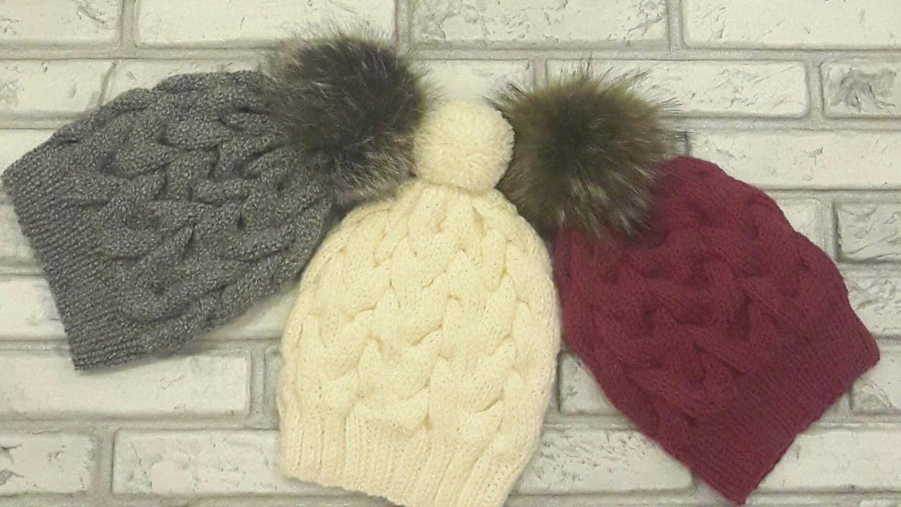 модная красивая шапка с косами спицамибез швавязание спицами Hat