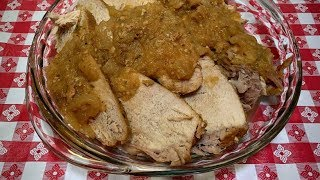 SLOW COOKER PORK LOIN IN APPLE SAUCE!! PERFECT FALL DINNER IDEA!!