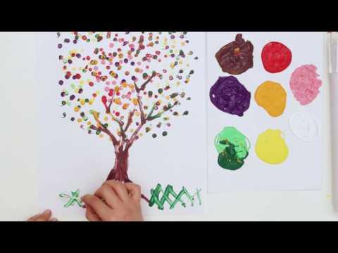 Kulak çubuğu ile eğlenceli nokta baskı boyama / DIY Q-tip painting for kids