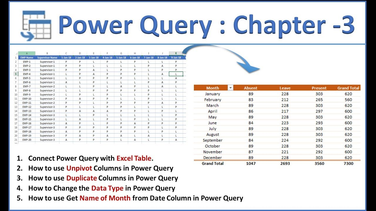 Power Query Tutorial: Chapter - 3 || Connect with Excel Table || Load  Connection Only || Data Types
