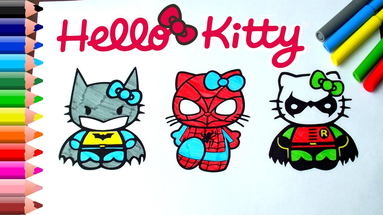Spiderman Coloring Pages For Kids Batman Book Robin Hello Kitty Superheroes