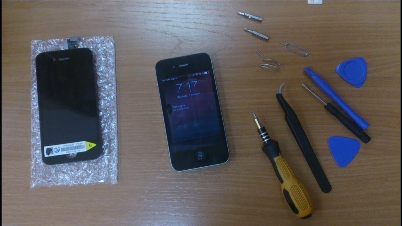 замена экрана iphone 4 видео