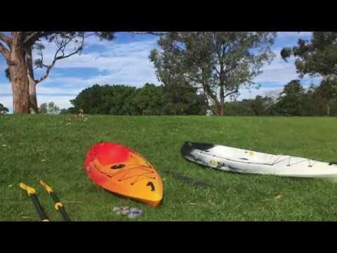 Loading two kayaks on roof rack