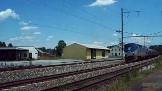 Amtrak Pennsylvanians 43 and 42 passing the Strasburg Railroad in HD