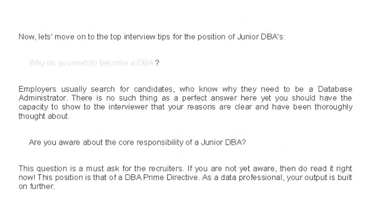top 5 interview tips for junior dba position top 5 interview tips for junior dba position
