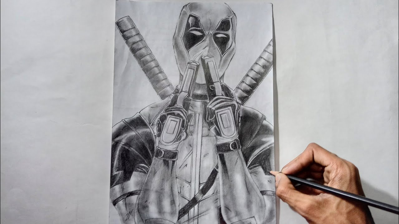 Drawing deadpool with pencil speed draw deadpool 2