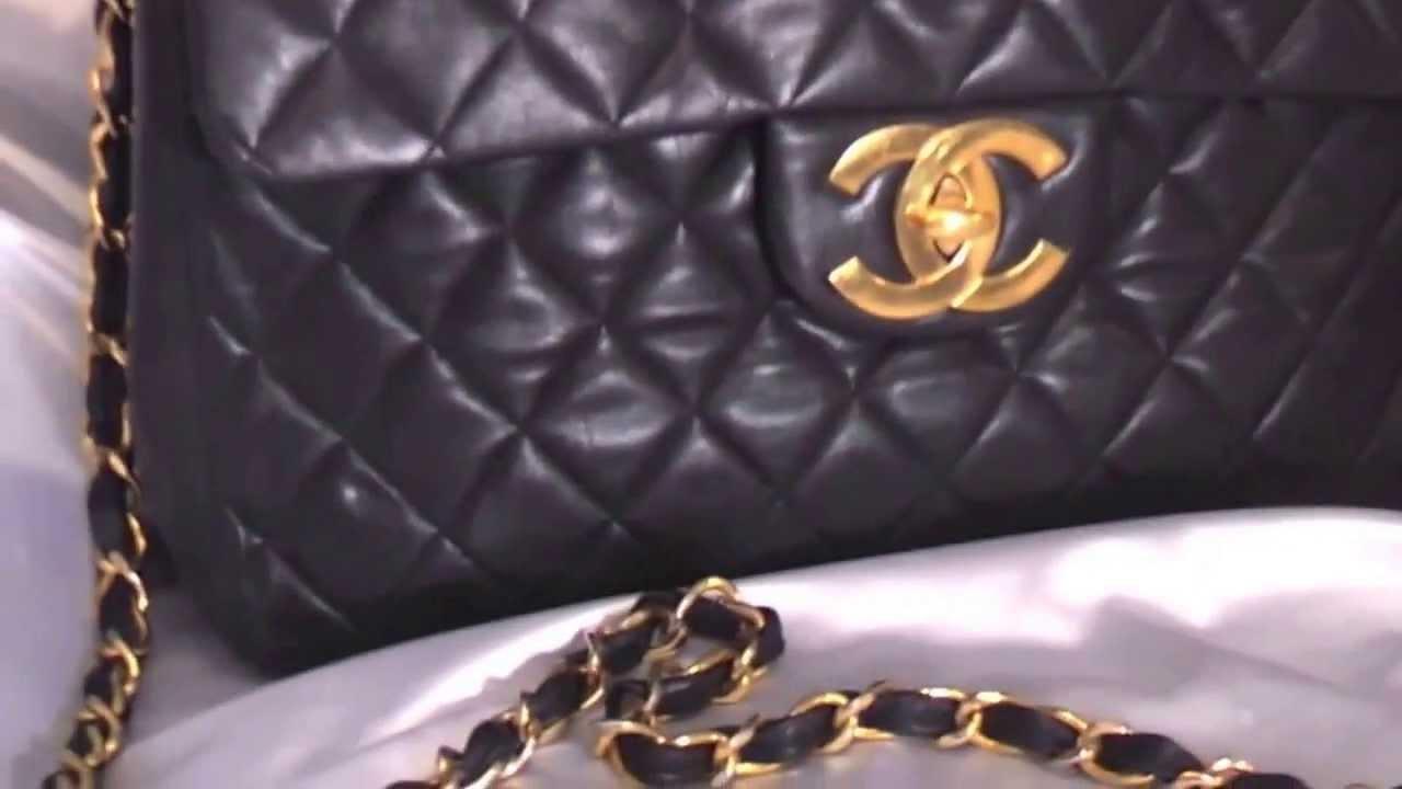 Chanel handbag superb vintage chanel bag vintage leather - Review Of Authentic Vintage Chanel Leather Jumbo Lambskin Bag For Sale Youtube