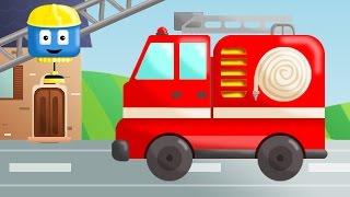 Wóz strażacki - Tom i Matt pojazdy budowlane| Kreskówki o budowaniu dla dzieci