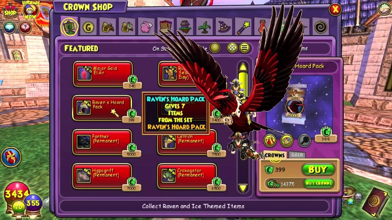 Wizard101: NEW Raven Hoard Pack Update: Weapons, Mounts, Armor, Plants