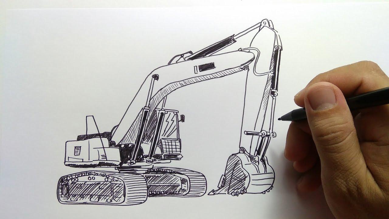 Cara Menggambar Beko Excavator Pc Youtube