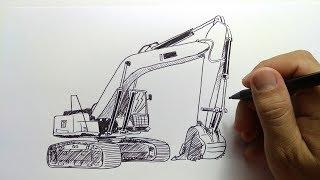 cara menggambar beko / excavator / pc
