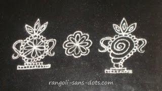 rangoli  / kolam  -   Puja room kolam designs - Ugadi muggulu