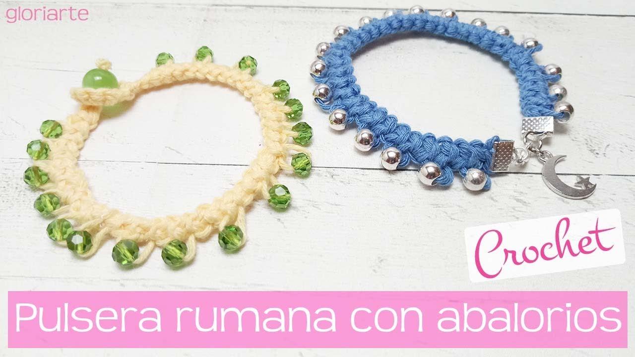 Pulsera rumana de ganchillo con abalorios. Romanian crochet bracelet ...