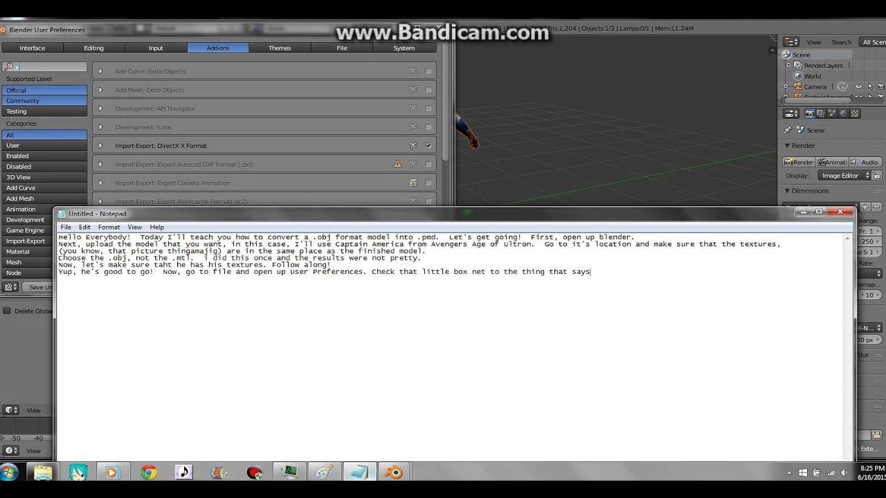 How to Conver Blender files to MMD Obj to PMD