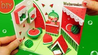 [DIY miniature watermelon room!   water melon bed , tabel~] 겨울에도 수박이지!! 수박이 한가득!! 미니어쳐 수박방 만들기!!
