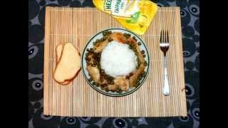 Рис с курицей и зеленым горошком