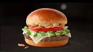McDonald's Garlic White Cheddar Burger Review NEW 100% FRESH BEEF