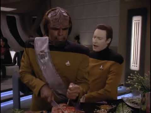 WORF SHAMES HIMSELF while GIVING ALIEN FOOD