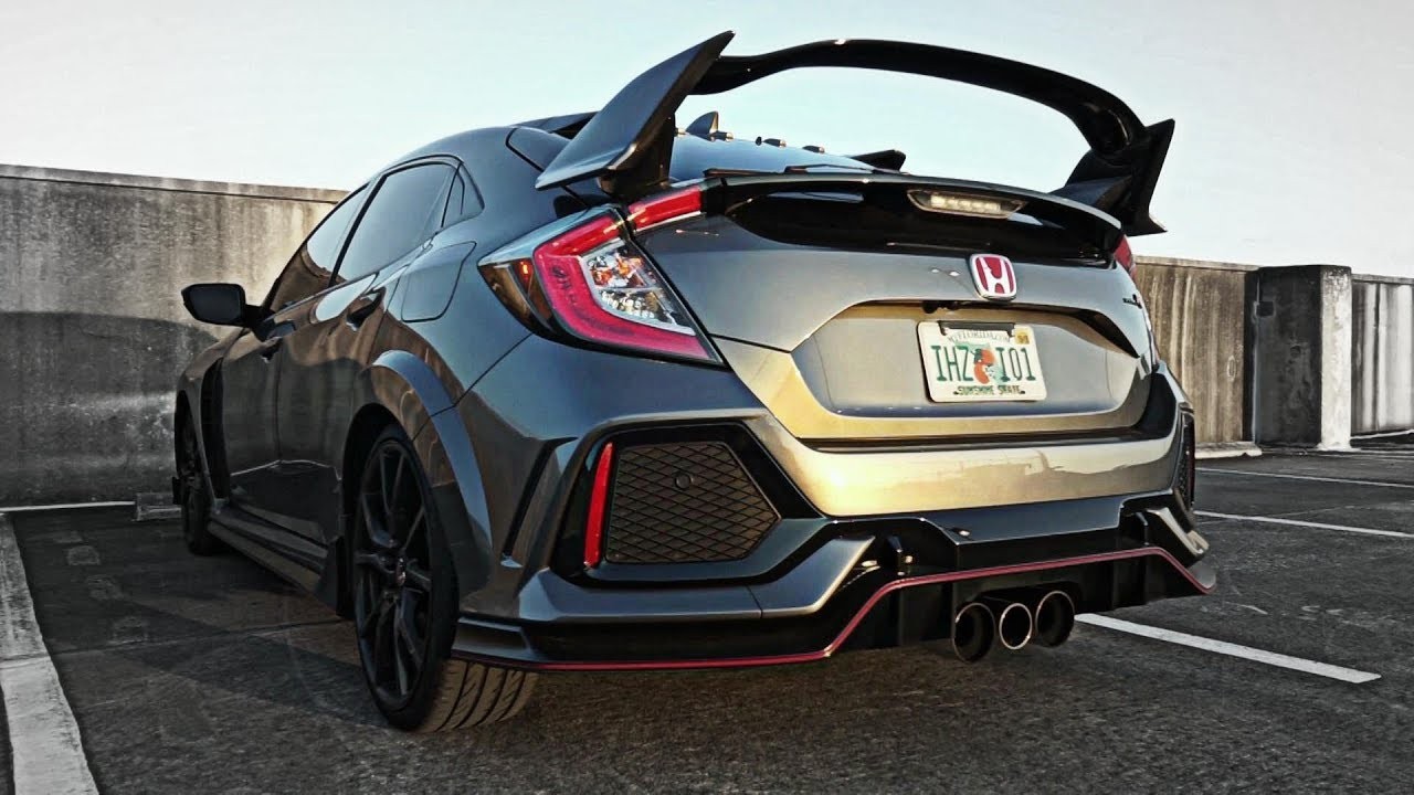 2018 honda civic type r fk8 stock exhaust vs armytrix full exhaust sound comparison