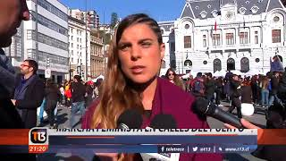 Marcha feminista en el puerto de Valparaíso