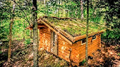 Off Grid Sauna in the ForestLiving Green Roof and Log Cabin Walls4K