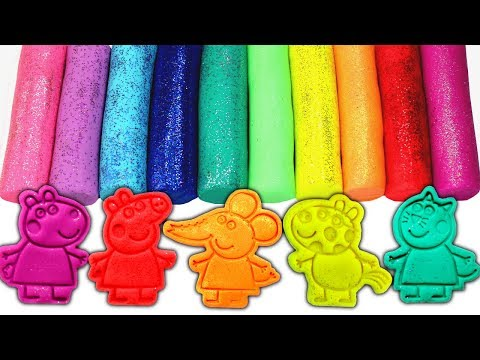 Peppa Pig Friends Play Doh Molds Learn Colors with Peppa's Friends Suzy Sheep Pedro Pony Candy Cat