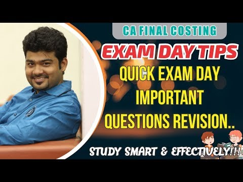 CA FINAL LAST DAY REVISION OF COSTING by CA SANKALP KANSTIYA