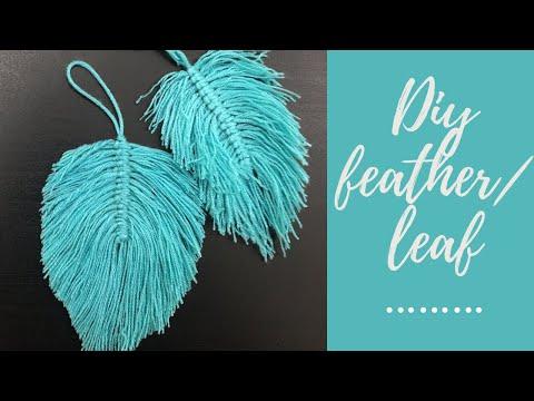 DIY YARN FEATHERs- macrame feathers- diy yarn feather wall hanging tutorial(beginner)- wool feather